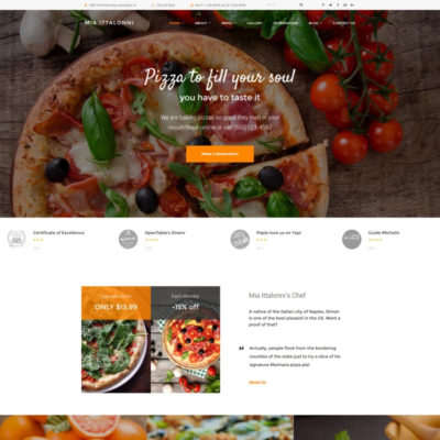 pizza restaurant wordpress theme free