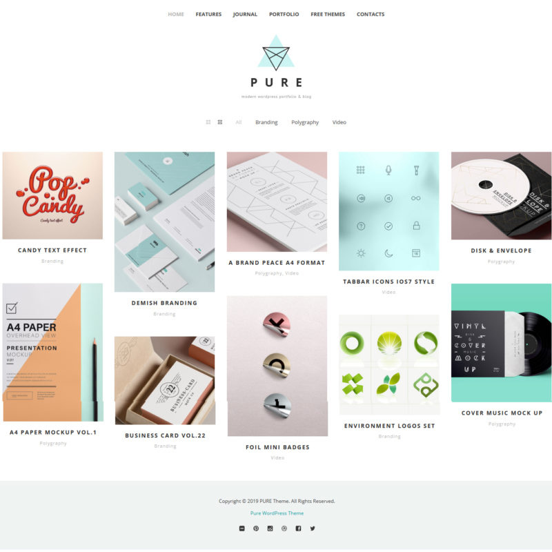 minimal portfolio free wordpress theme