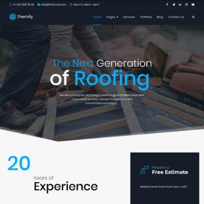 free roofing wordpress theme