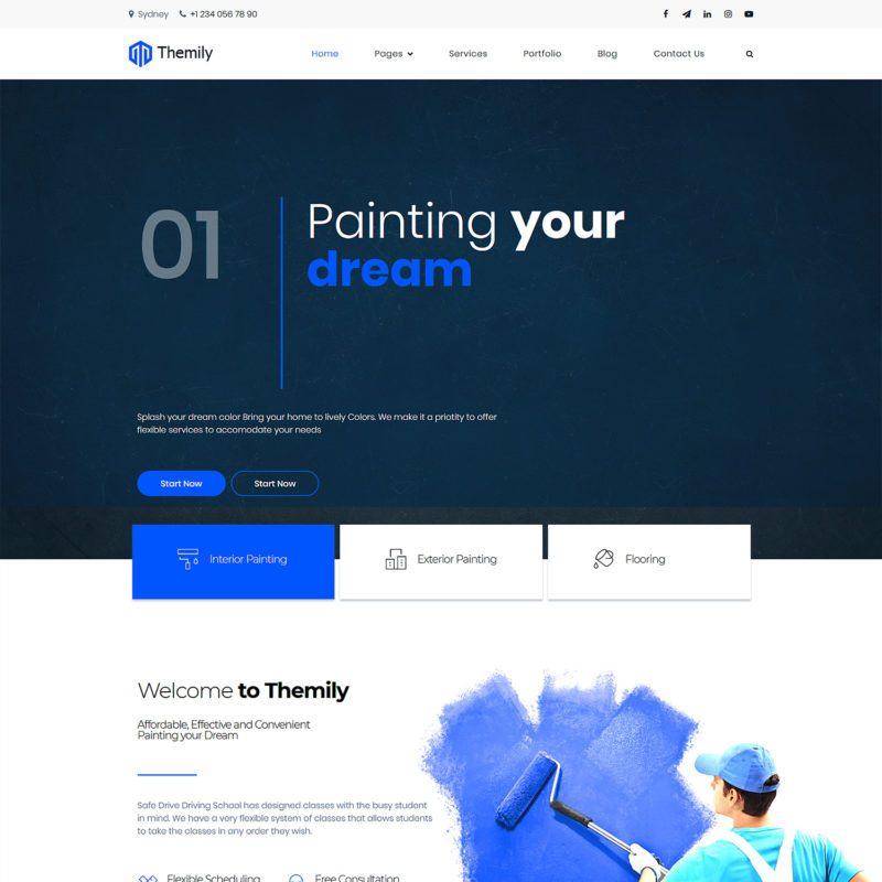 free wall painting wordpress theme